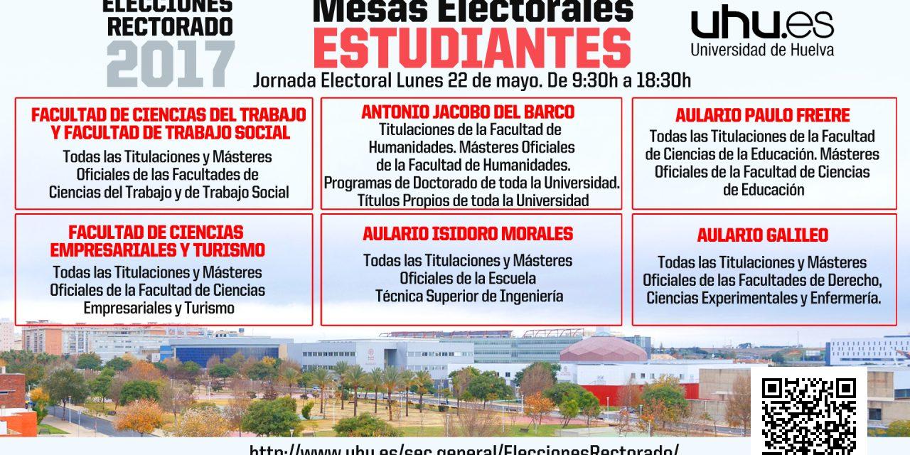 Elecciones Rectorado: Relación de Mesas Electorales de la jornada electoral del 22 de mayo