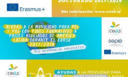 CeiA3 convoca 59 ayudas de movilidad internacional Erasmus +